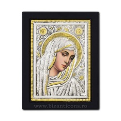 Icoana argintata - Maica Domnului cu lacrimi - Filimeni 19x26 cm K104Ag-404