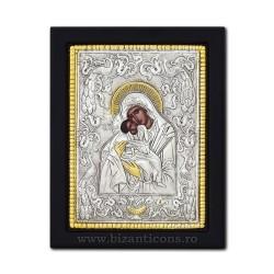 Icoana argintata - Maica Domnului Dulcea Sarutare 19x26 cm K104Ag-412