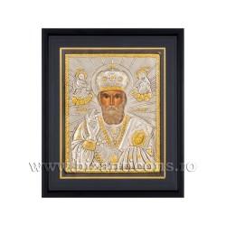 Icoana argintata - rama 25x30 Sf Nicolae Ierarh K1101-009