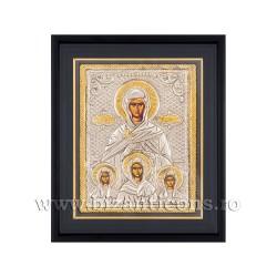 Icoana argintata - rama 25x30 Sf Sofia si cele 3 fiice Pistis, Elpis si Agapis K1101-124