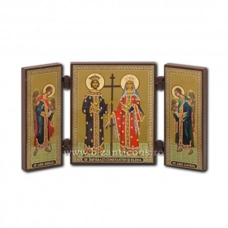 Triptic lemn - Sfintii Imparati Constantin si Elena 13x7,3 cm