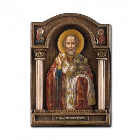 Icoana pictata in relief - Sfantul Ierarh Nicolae 18x26cm BG-71
