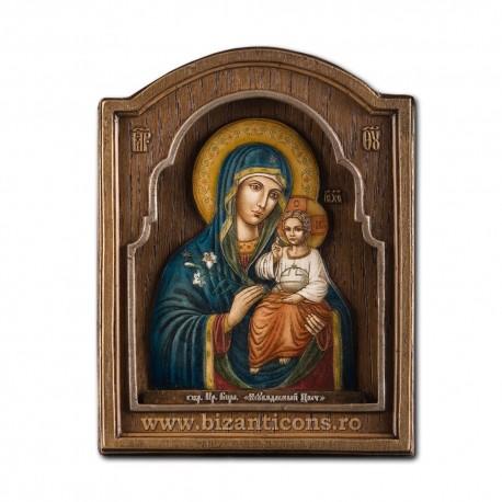 Icoana pictata in relief -Maica Domnului cu Crin 16x21cm BG-77