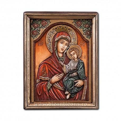 Icoana pictata in relief - Maica Domnului Odighitria 13x16cm BG-83