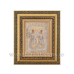 Icoana metal - rama aurie 31x36 Sf Mihail si Gavriil K801-033