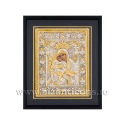 Icoana argintata - Maica Domnului Axionita 34x42 cm