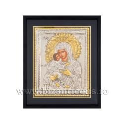 Icoana argintata - Maica Domnului Dulcea Sarutare 34x42 cm