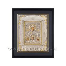 Icoana argintata - rama 34x42 Sf Sofia si cele 3 fiice Pistis, Elpis si Agapis K1100-124