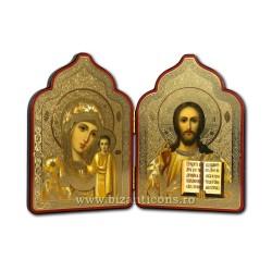 18-18 diptic lemn 9,5x13cm Md + M auriu