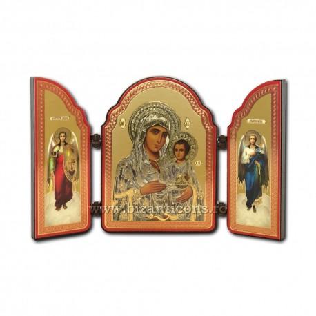 Triptic lemn - Maica Domnului din Ierusalim 11x8,5 cm