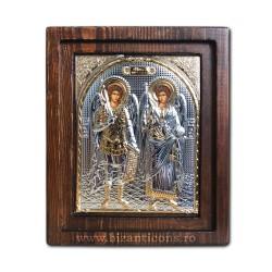 Icoana Ag925 Sfintii Arhangheli Mihail si Gavriil 16,5x20 cm