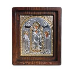 Icoana Ag925 Maica Domnului pe Tron 11,5x14 cm