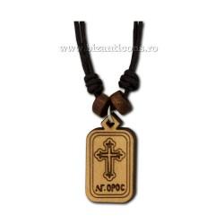 24-134 colier ata + medalion cruce lemn - carton 12/set