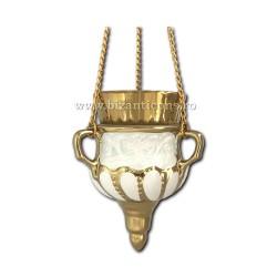 121-31-4 Candela ceramica lant - Alb