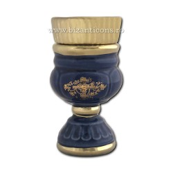 121-2-1 Candela ceramica medie - Albastru