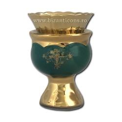 121-4-5 Candela ceramica medie - Verde