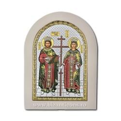 Icoana Ag925 lemn alb Sf Constantin si Elena 15x21 PW40-011
