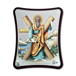 Icoana argintata - Sfantul Apostol Andrei - Ocrotitorul Romaniei 8,5x10 cm