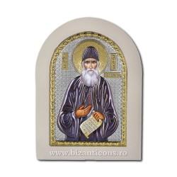 Icoana Ag925 lemn alb Sf Cuvios Paisie Aghioritul 7,5x9,5 PW20-487