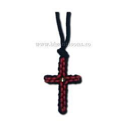 9-12-2 colier textil - negru + rosu 12/set
