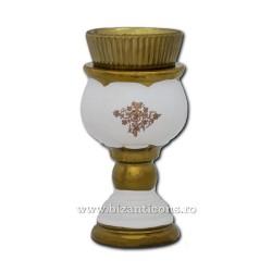 121-20-4 Candela ceramica mare 17,5 cm - Alb