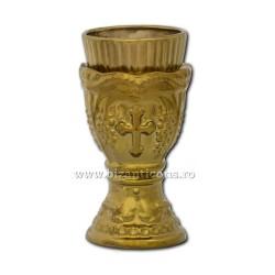 121-21-9 Candela ceramica medie 14 cm - Auriu
