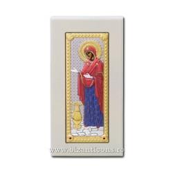 Icoana argintata - Maica Domnului Gerontissa - Sporul casei 8,5x16 cm