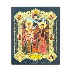 Icoana pe lemn - Sfintii Ciprian si Iustina 15x18 cm