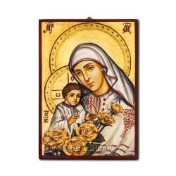 Icoana pictata - Maica DOmnului in costum traditional cu trandafiri 22x32 cm