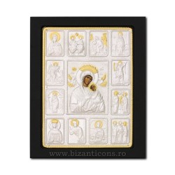 Icoana metal - Maica Domnului Iconostas Amolintos - Neintinata 19x24 cm K104-405