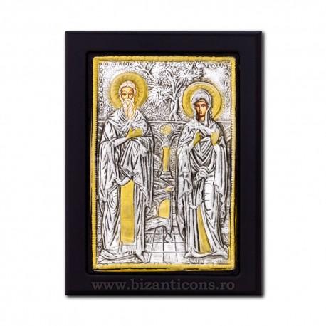 Icoana metal 19x24 Sf Ciprian si Iustina K104-160