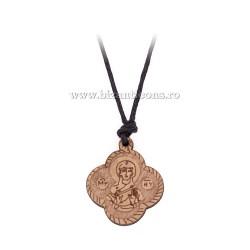 Colier ata - medalion lemn 12/set