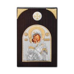 Icoana argintata - Maica Domnului Dulcea Sarutare 7x11 cm