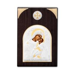 Icoana argintata - Maica Domnului din Vladimir 7x11 cm