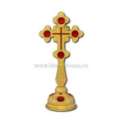 101-340R Cruce Bin. 28cm - aurie - pietre rosii - Bizantina + BAZA