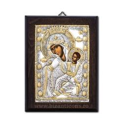 Icoana din argint - Maica Domnului Paramythia - Mangaietoarea 14,5x19 cm