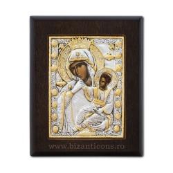 Icoana din argint - Maica Domnului Paramythia - Mangaietoarea 9x11 cm