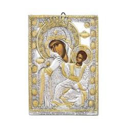 Icoana din argint - Maica Domnului Paramythia - Mangaietoarea 11x15,5 cm