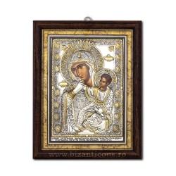 Icoana din argint - Maica Domnului Paramythia - Mangaietoarea 24,5x31,5 cm