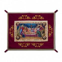 Epitaf Brodat textil - cu icoana printata Punerea in Mormant - GRENA 108x140 cm