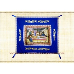 Epitaf Brodat textil - cu icoana printata Punerea in Mormant - ALBASTRU 108x140 cm