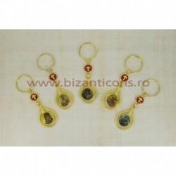 2-15 breloc metal - icoana + cruce rosie 12/set