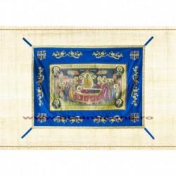 Epitaf Brodat textil - cu icoana printata Adormirea MD - ALBASTRU