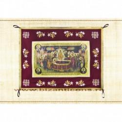 Epitaf Brodat textil - cu icoana printata Adormirea MD - GRENA