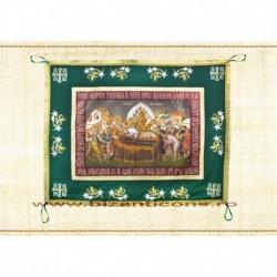 Epitaf Brodat textil - cu icoana printata Adormirea MD - VERDE