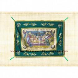 Epitaf Brodat textil - cu icoana printata Punerea in Mormant - VERDE 108x140 cm