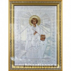 Icoana cu foita argintata - Sfantul Pantelimon