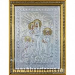 Icoana cu foita argintata - Sfintii Sofia - Pistis, Elpis, Agapis