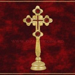 Cruce Binecuvantare Aurita 29 cm + pietre rosii + BAZA detasabila