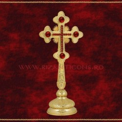 Cruce Binecuvantare Aurita 23 cm + pietre rosii + BAZA detasabila